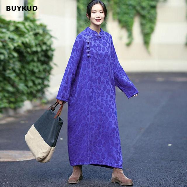 3124cf7ef85 BUYKUD Vintage Casual Autumn Dress Women Cotton Linen Loose Maxi Dress 2018  Chinese Style Bat Long Sleeve Jacquard Blue Dresses