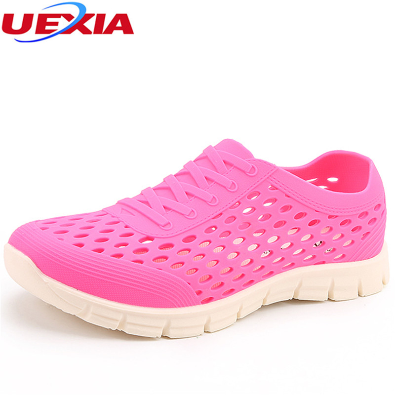UEXIA Hollow Outdoor Beach Women Shoes Casual Breathable Summer Flats Sandals Water Women's Flip Flops Slippers Platform Jelly women creepers shoes 2015 summer breathable white gauze hollow platform shoes women fashion sandals x525 50