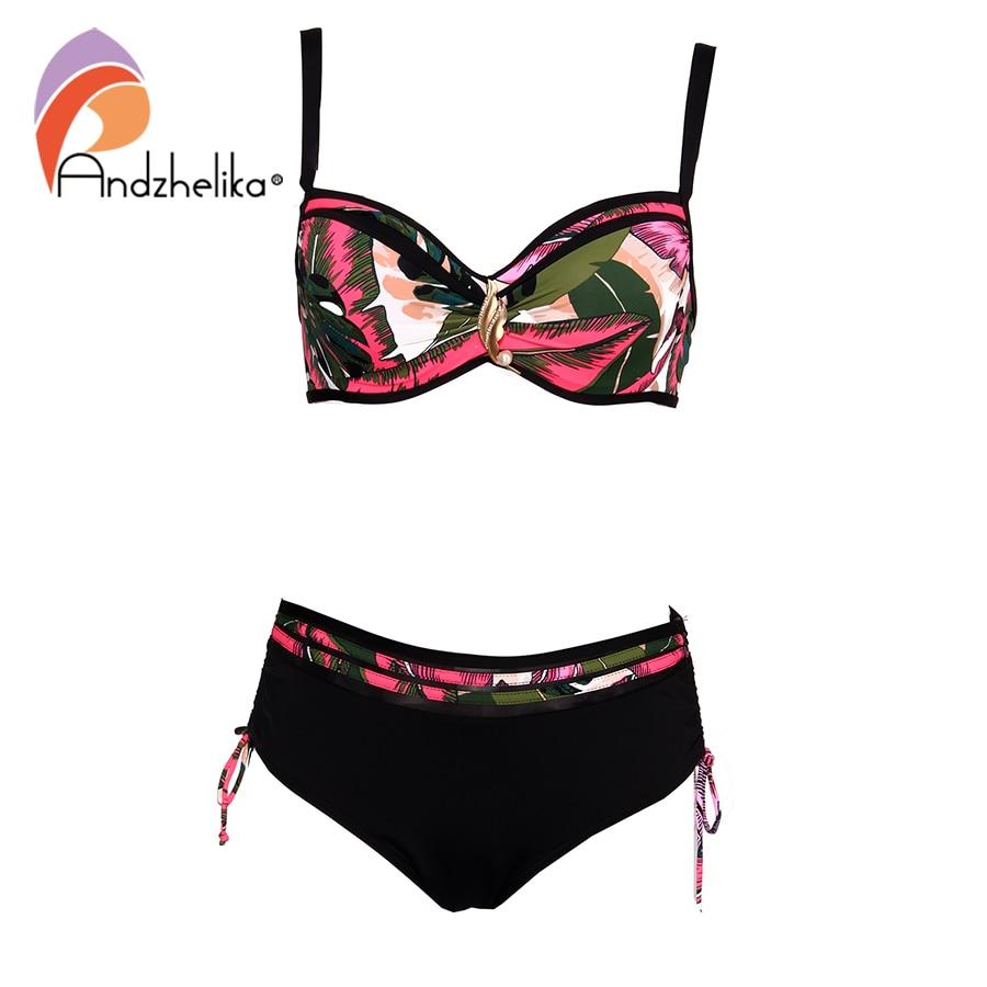 Andzhelika Green Leafy Print Bikini Set Women Pearl Jewelry Push Up Two Pieces Plus Size Swimwear 2021 Beach Bathing Suit