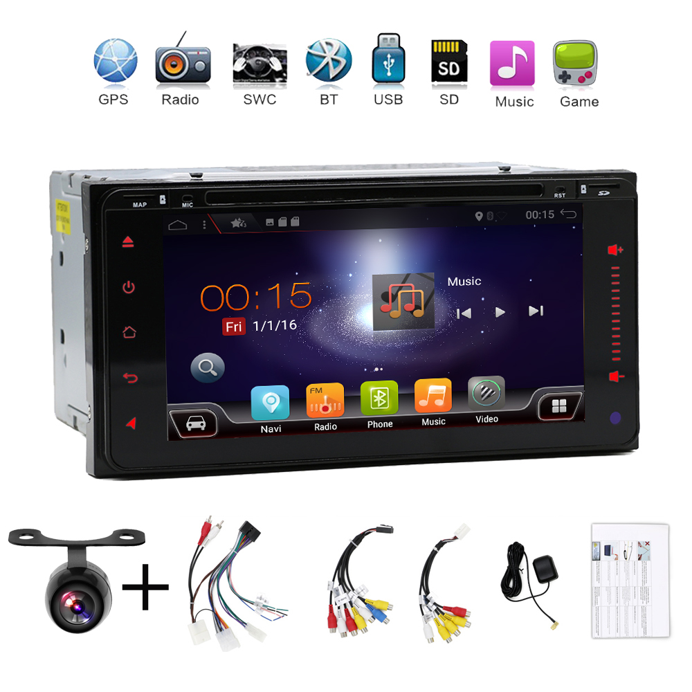 2 DIN Octa Core voiture dvd android 8.1 double din gps navigation Wifi usb + Bluetooth + Radio pour Toyota Hilux Camry Corolla Prado RAV4