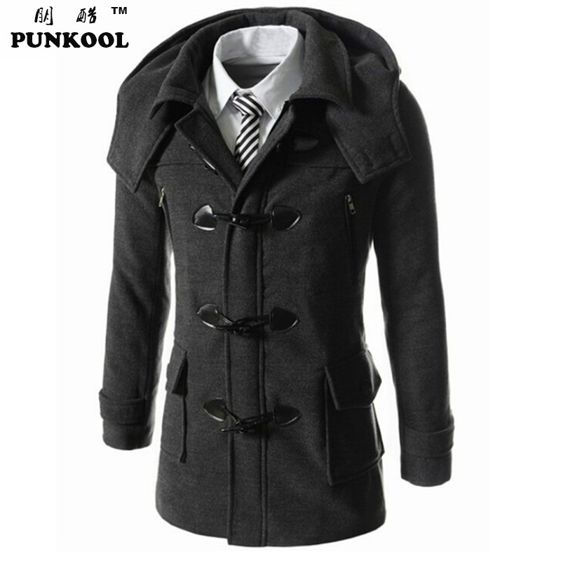 PUNKOOL Mens Trench Coat 2017 New Fashion Horn Button Hooded Slim Trench Coat Mens Long Thick Warm Hood Mens Trench Coat