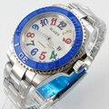Мужские часы Bliger  40 мм  с белым циферблатом  датой  синим  керамический Безель  Цветные Марки  стекло saphire  автоматическое движение