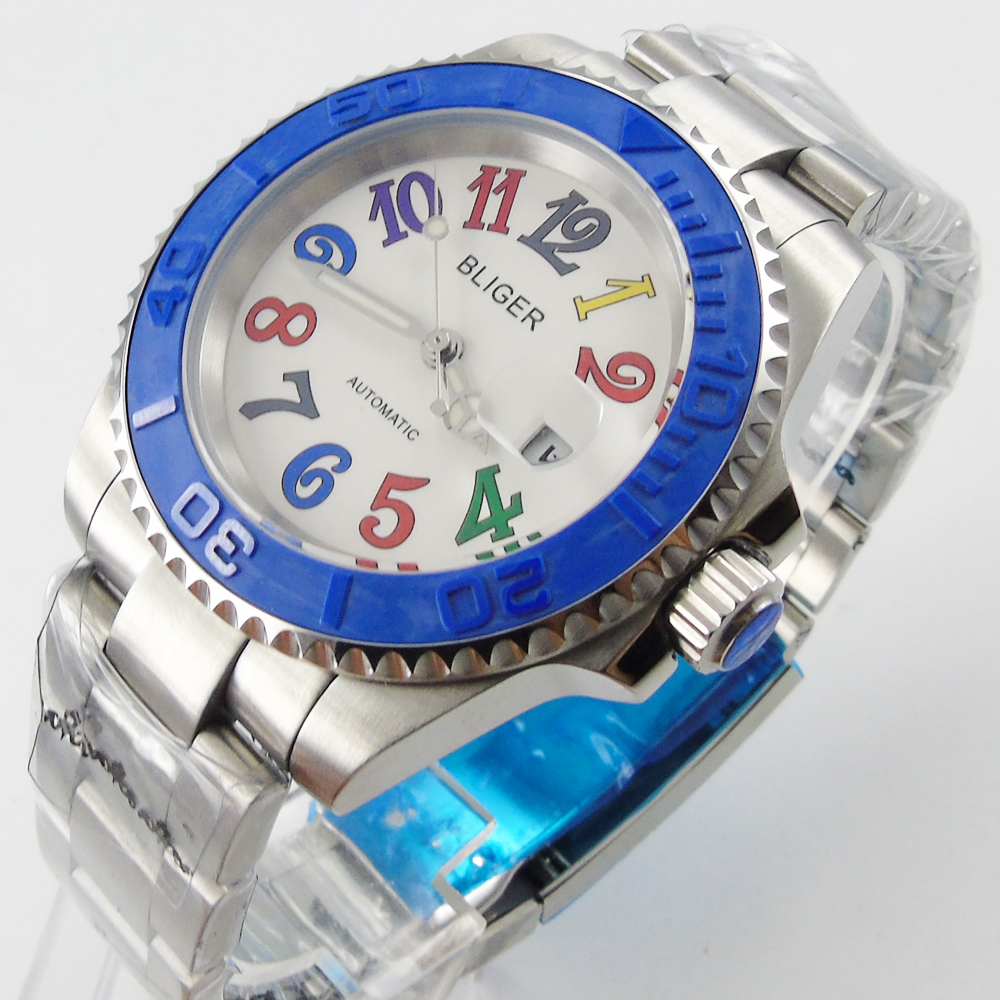 Bliger 40mm white dial date blue Ceramics Bezel colorful marks saphire glass Automatic movement Men's watch bliger 40mm gray dial date blue ceramics bezel stainless steel case saphire glass automatic movement men s watch