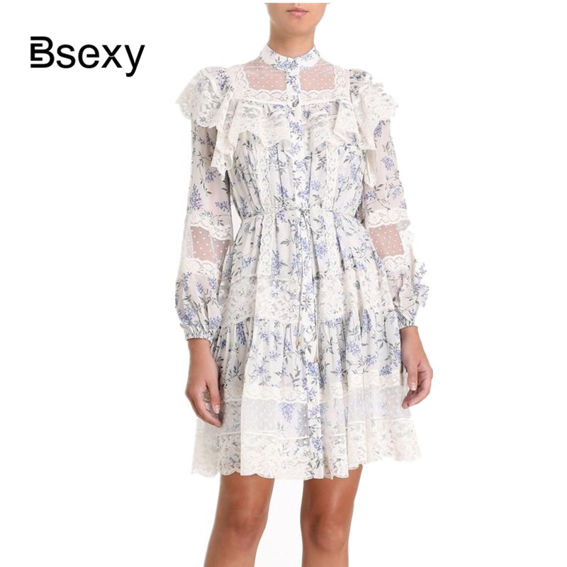 Robe de chemise de piste femmes 2019 été imprimé Floral en mousseline de soie Patchwork dentelle à manches longues robe lâche vestidos boho hippie chic