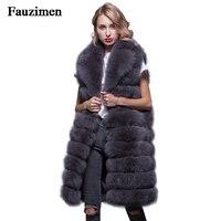 90CM Natural Fox Fur Gilet New 2019 Winter Long Thick Women Genuine Fur Vest Jacket Pockets Real Fur Vest Coats for Women