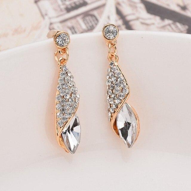 Fashion Brand Alloy Gold Colors Statement Austria Blue Crystal Long Earrings Rhinestone Water Drop Elegant Earring Jewelry 2