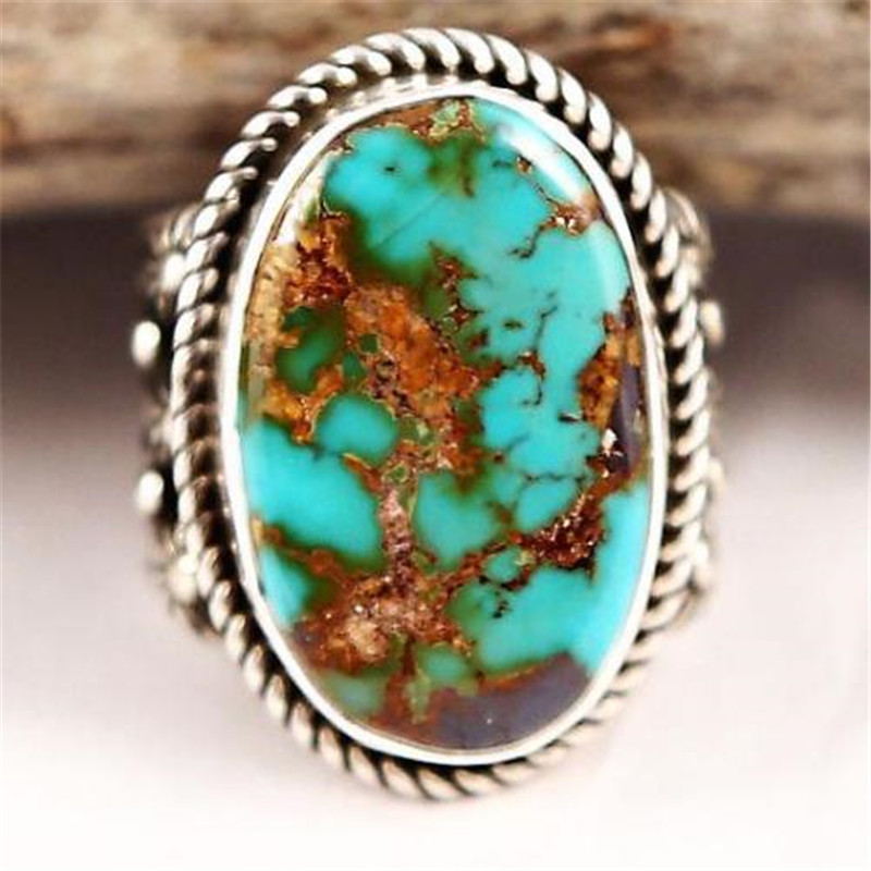 Silver-Rings Jewelry Turquoises Blue Stone Bohemian-Style Vintage Large Women Oval
