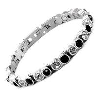 2019 New Fashion Magnetic Bracelet For Women Bangles Stainless Steel Charm Bracelet Females With Black&Transparent Zircon