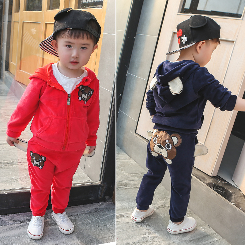 2017 boy toddlers Clothes Set Kids Velvet Long Sleeve Hooded Tracksuit Coat+Pants Autumn Hooded  Clothes Suits Christmas suit velvet christmas print hooded cape coat