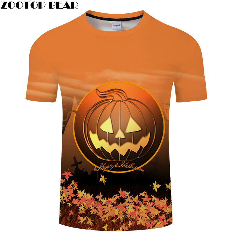 Jack-O'-Lantern tshirt Men t shirt 3d Top Tee Male t-shirt Short Sleeve Camiseta Halloween Tee Streetwear Drop Ship ZOOTOP BEAR