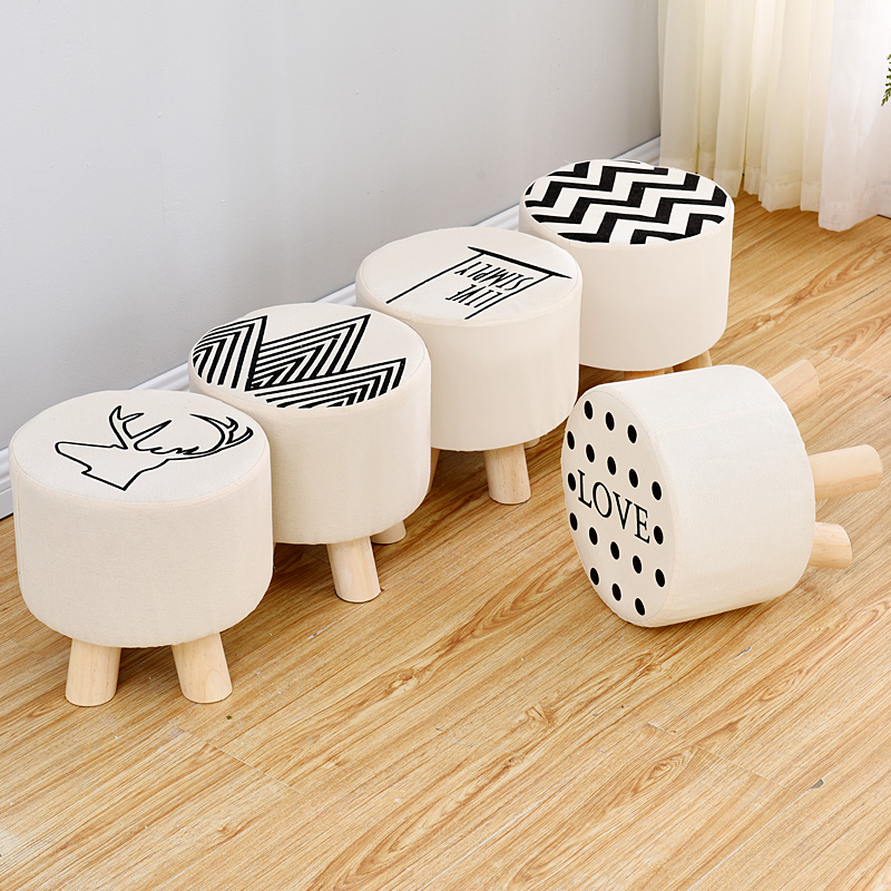 Wooden Modern Stool Taburetes Pufe Kruk Nordic Solid Wood Cotton Thickened Floor Floating Window Round Balcony DisassemblyWooden Modern Stool Taburetes Pufe Kruk Nordic Solid Wood Cotton Thickened Floor Floating Window Round Balcony Disassembly