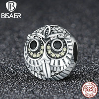 925 Sterling Silver Round Shape Animal Owl Beads Charms Fit Original Pan Bracelet Pendant Authentic Jewelry