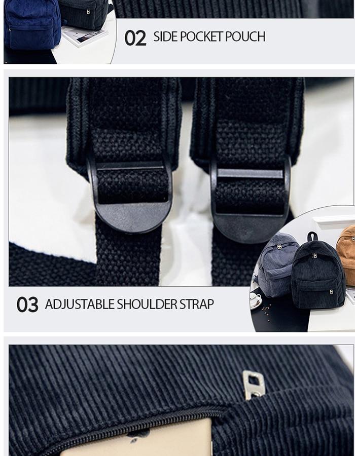 HTB1HEpIM4TpK1RjSZR0q6zEwXXaL 2019 New Corduroy Women Backpack Pure Color Women Travel Bag Fashion Double Backpack Female Mochila Bagpack Pack Design