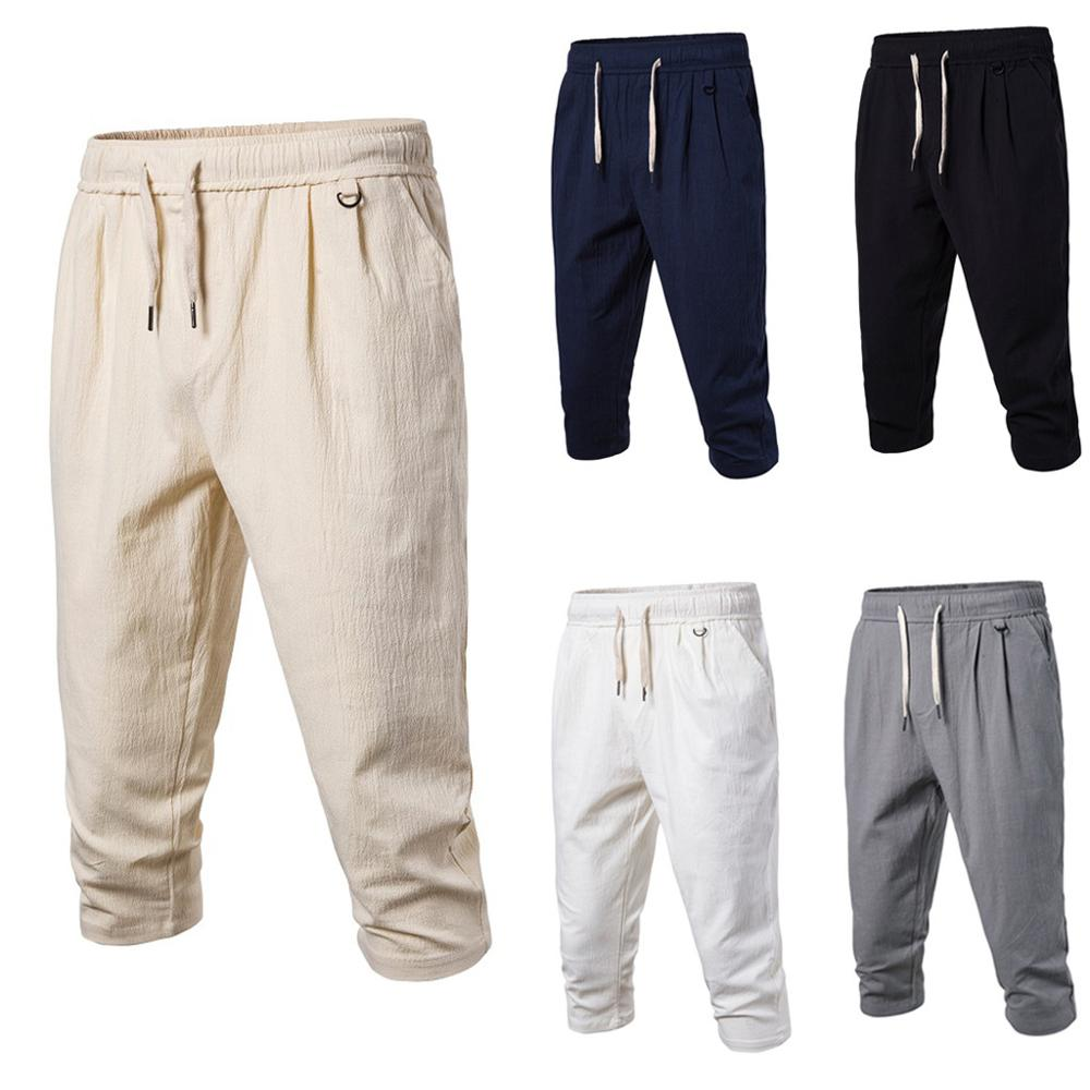 Fashion Men Summer Casual Solid Loose Elastic Waist Calf-Length Pants Trousers Casual Male Solid Loose cargo pants Jogger