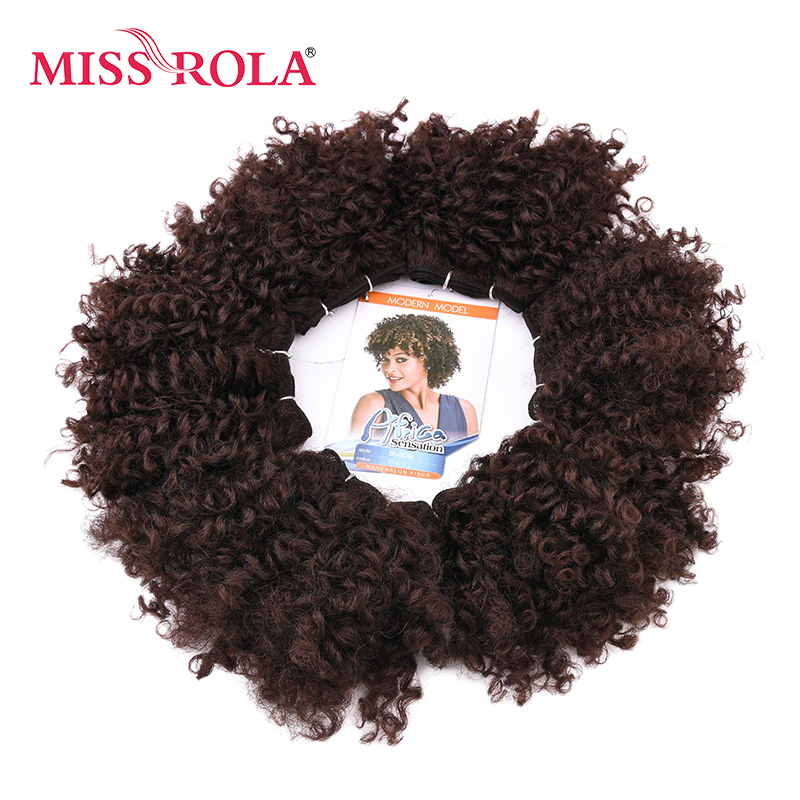Miss Rola 6pcs/lot Curly Synthetic Hair Extensions 100g Sew In Hair Weave Kanekalon Fiber Double Weft Hair Bundles