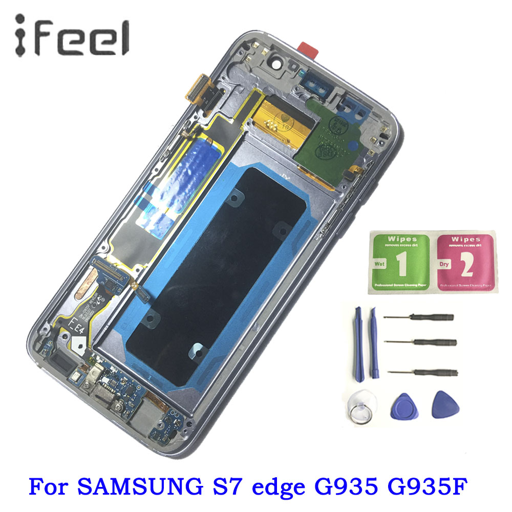 Mobile Phone Parts Lower Price with 5.5 Super Amoled Lcd With Frame For Samsung Galaxy S7 Edge G935 G935f Lcd Display Touch Screen Digitizer Assembly Meticulous Dyeing Processes Mobile Phone Lcds