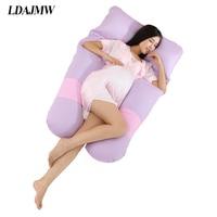 LDAJMW 150 80cm Pure Cotton U Type Pregnant Woman Pillow Pillowcase Pregnancy Comfortable Body Pillow For