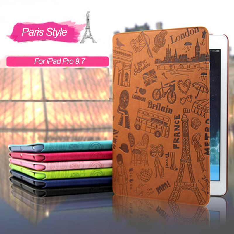 Fashion Cute Paris Style Case for IPad Pro 9.7 Inch, PU Leather Cover with Stand Tablet Case for IPad Pro 9.7 Inch 2016 Release