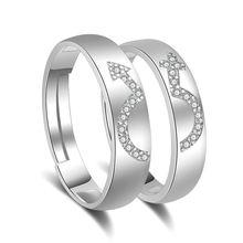 Парные кольца для влюбленных из серебра 925 пробы с блестящими