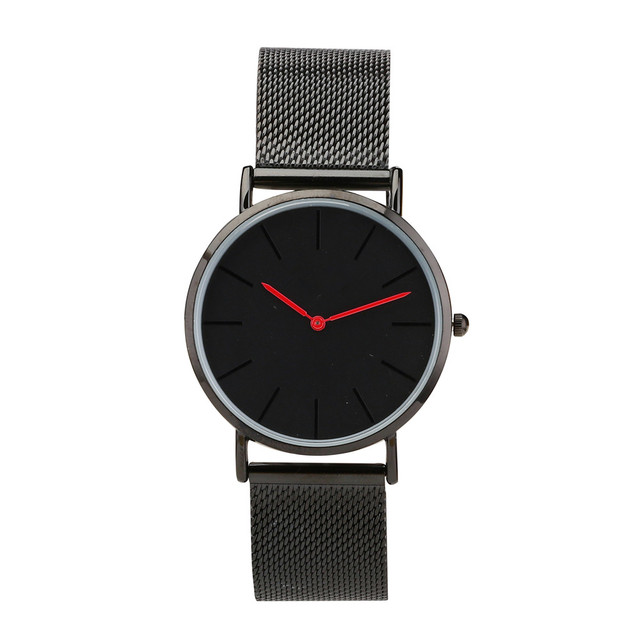 mesh strap black watches with red hand