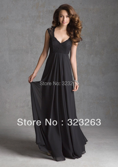 7d80e03c2ee7 Floor Length Black Chiffon Long Bridesmaid Dresses Gowns See Through Lace  Covered Back Empire Waist BX060