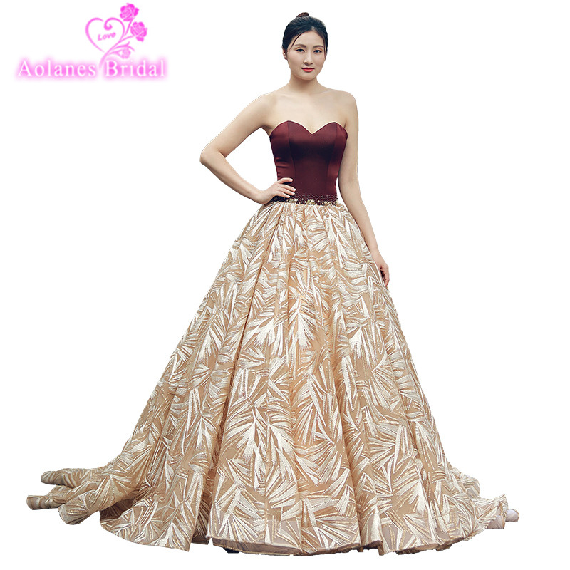Burgundy And Gold Lace Sexy Plus Size Long Prom Dresses Lace Appliques Satin And Blings Women Formal Evening Dress Custom Made