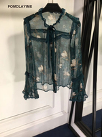 FOMOLAYIME Fashion Blouses 2018 New Designer Ruffles Bow Print Shirts Women Autumn Silk Blouse