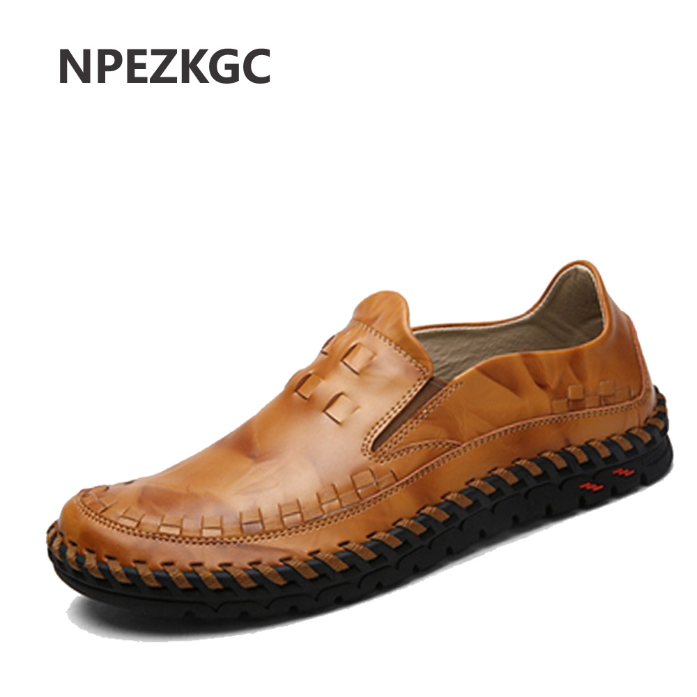 NPEZKGC Casual Shoes Brand Fashion Summer Style Soft Moccasins Men Loafers High Quality Genuine Leather Shoes Men Flats Shoes 2017 new brand breathable men s casual car driving shoes men loafers high quality genuine leather shoes soft moccasins flats