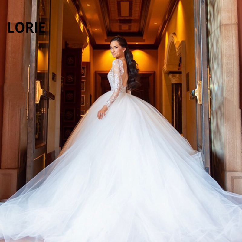 LORIE Long Sleeve A line Wedding Dresses Long Train Tulle Wedding Bridal Romantic Beach Bridal Gowns Boho White vestido de noiva