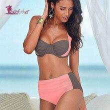 Lurehooker Women Solid Patchwork Push up Bikini Set High Waist Bikini Halter Beach Swimwear monokini Plus Size Bathing Suits