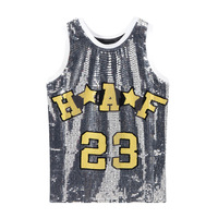 Spring and Summer 2019 New Sleeveless Loose Nail Pearl Flash Letter Student T shirt