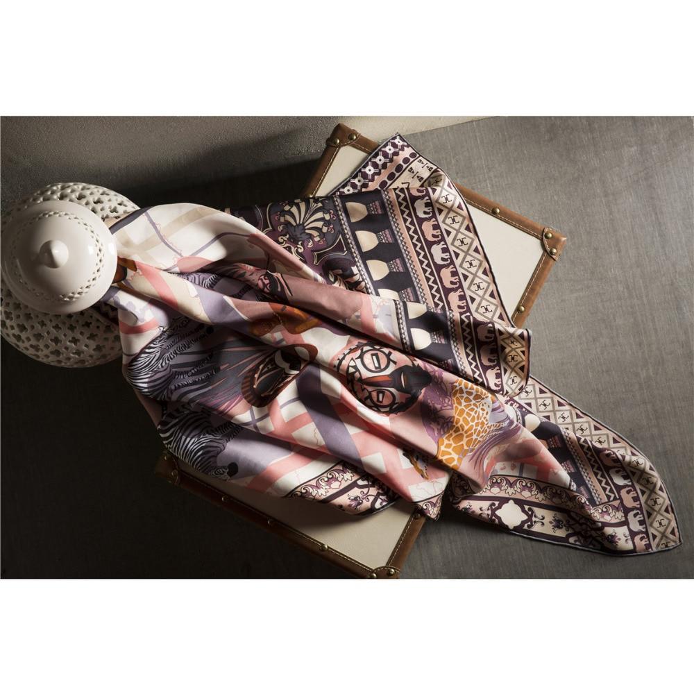 Top brand Luxury Design Twill Silk Scarf Infinity Animal Printed Shawl Leisure cool 100 silk 18m