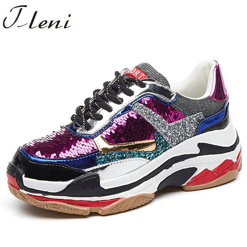Tleni Bling shiny sequines Women shoes platform wedge shoes fashion sneakers breathable Glitter travel walking shoes ZX 94