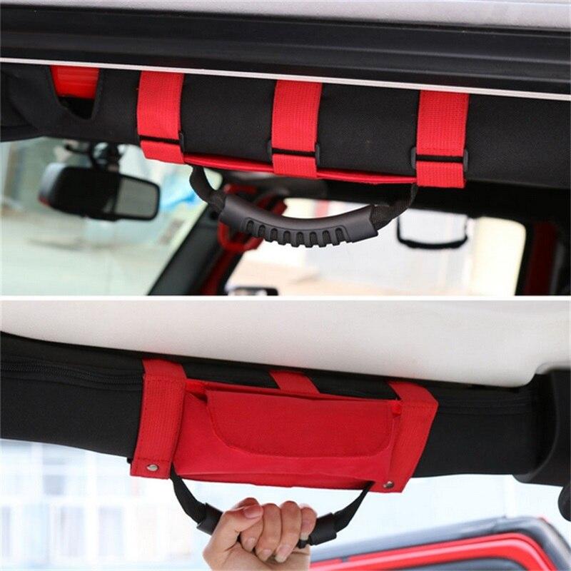 BBQ@FUKA Roll Bar Grab Handle Sunglasses Holder Pouch Bag Black/Blue/Red Fit For 87-2016 Jeep Wrangler TJ CJ YJ JK Car Accessory