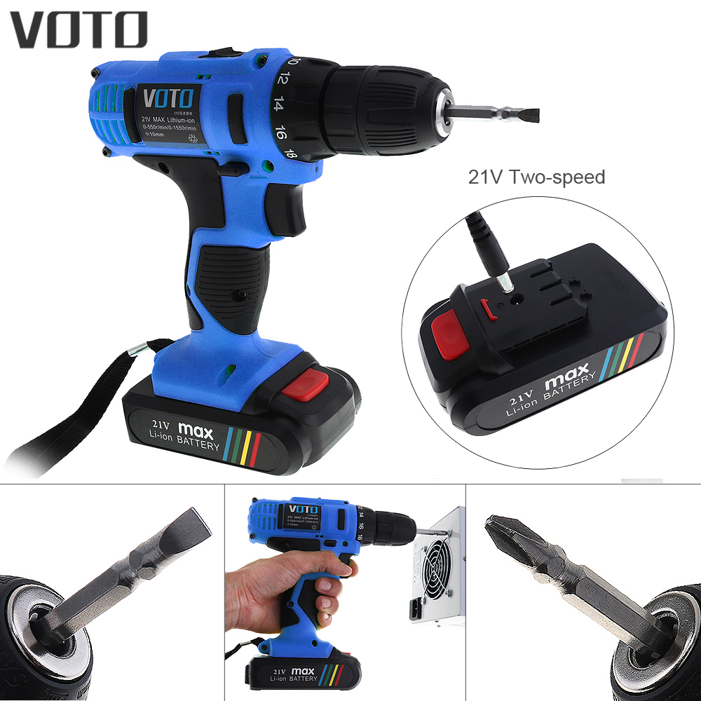 VOTO 21V Lithium Battery Cordless Electric Screwdriver Two speed Adjustment Screw Driver Power Tools for Punching Wood Drilling