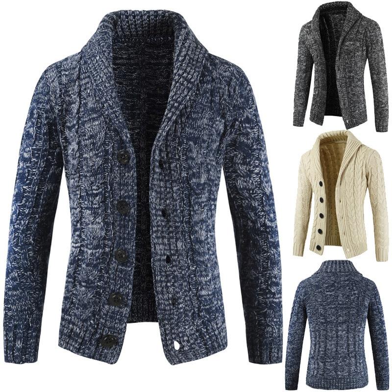 Men's Slim Cardigan Sweater Coat Knitted Cotton Wool Sweatercoat Solid Outwear H5