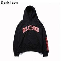 Hollywood Letter Printed Mens Hoodies 2017 New Streetwear Front Pocket Oversized Hip Hop Hoodies Men Red