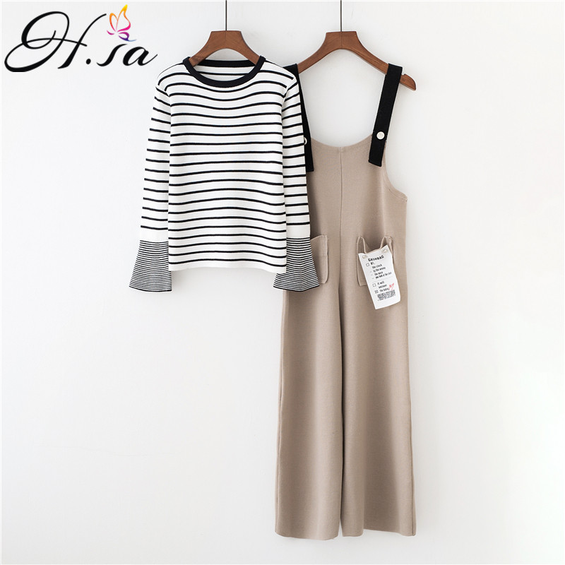 HSA 2018 Autumn Winter Korean Two Pieces Sweater Jumpers Black White Striped Pull Sweaters Wide Leg Pants And Pull Suit Harajuku