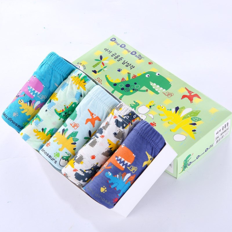 2019 Kids Underwear 5pcs/lot Baby Girls Panties Cotton Panties For Children Shorts For Boys Cute Dinosaur Children's Briefs