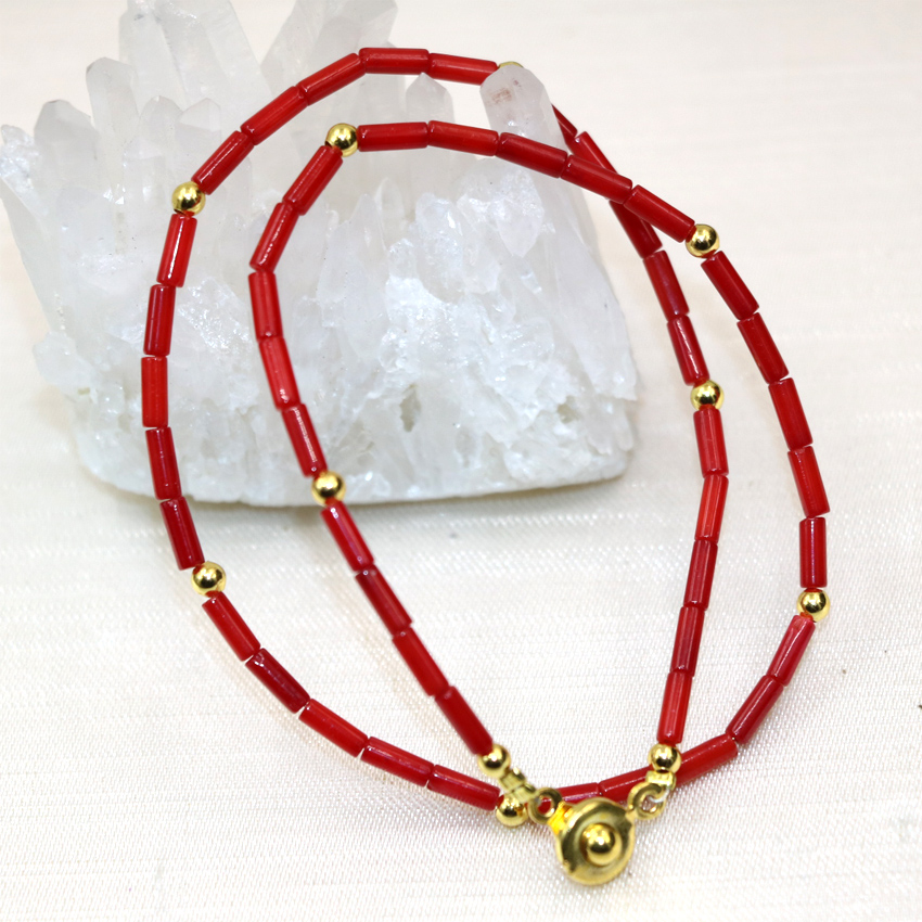 2*6mm natural red coral tube beads charms multilayer bracelet & bangle for women clasp high quality jewelry 13inch B3004
