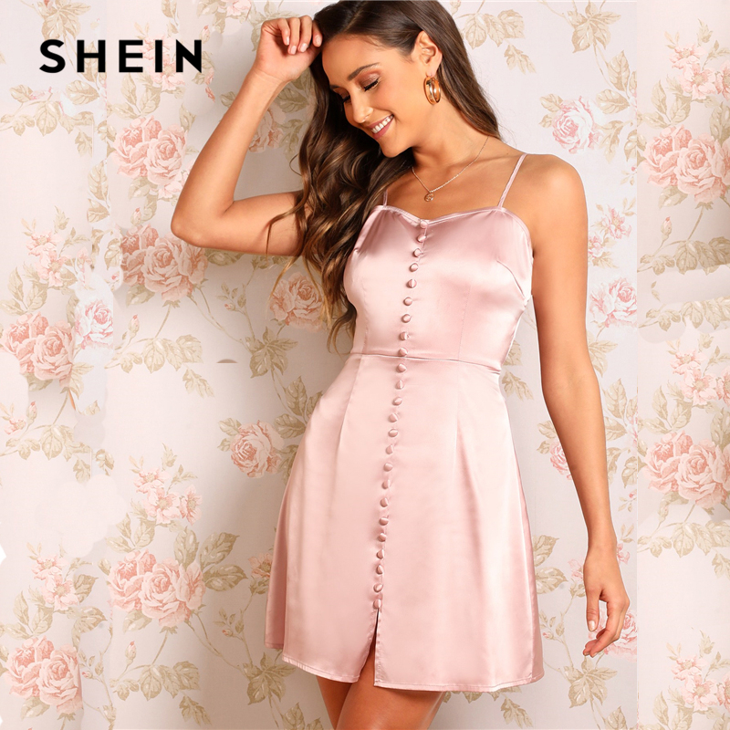 458032f31942 SHEIN Sexy Pink Zip Back Button Embroidered Satin Slip High Waist Mini Dress  Women Summer Spaghetti Strap Flare Party Dresses-in Dresses from Women's ...