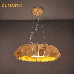 Nowoczesne żyrandole z drewna salon sypialnia restauracja drewniana lampa LED okrągłe światło wiszące oświetlenie domu Dia38cm