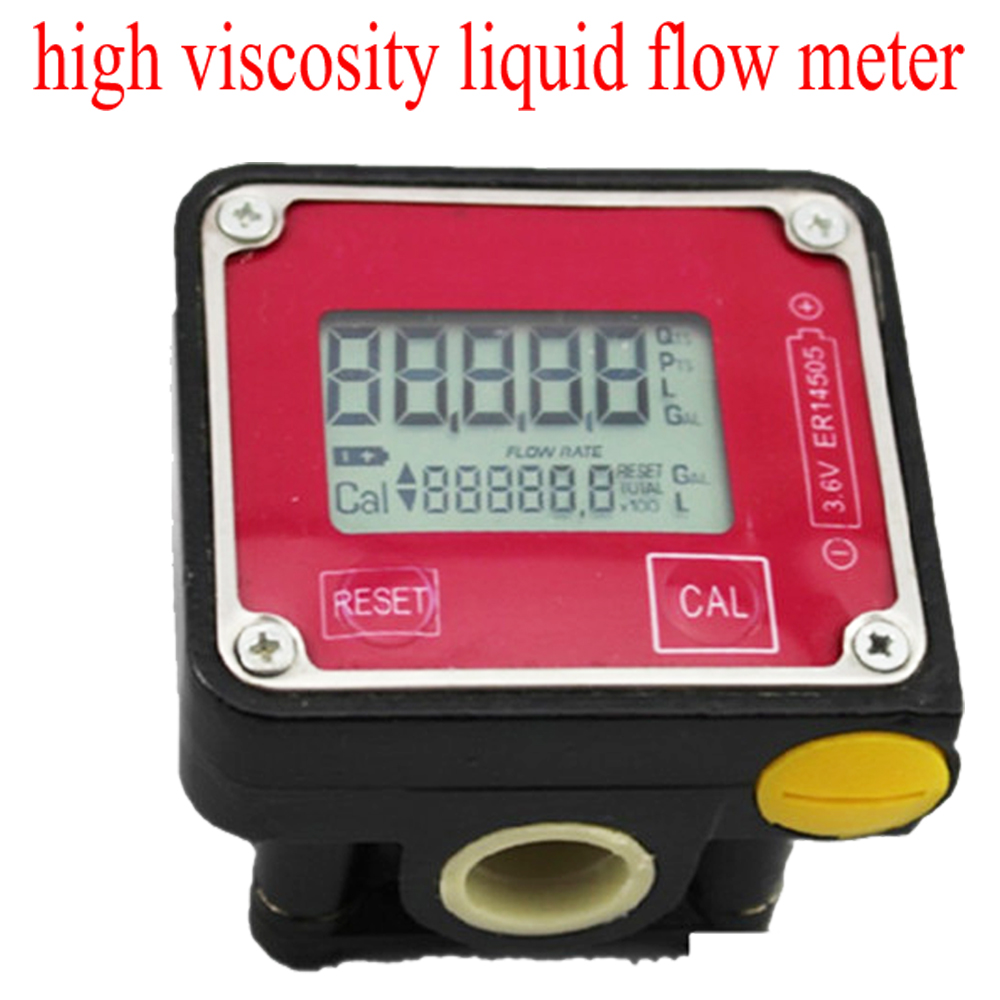 high viscosity liquid flow meter LCD digital 1-30L/min gear flow meter Turbine flowmeter Diesel, gasoline, kerosene, oil meter цены