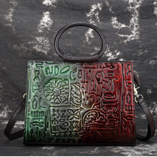 Genuine Embossed Leather Women Top Handle Bags Famous