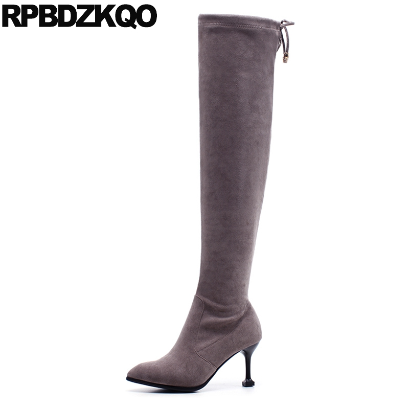 Thin Over The Knee High Sexy Fur Long Stiletto Suede Slim Thigh Women Boots Stretch Luxury Lace Up Gray Pointed Toe Shoes Female jialuowei women sexy fashion shoes lace up knee high thin high heel platform thigh high boots pointed stiletto zip leather boots