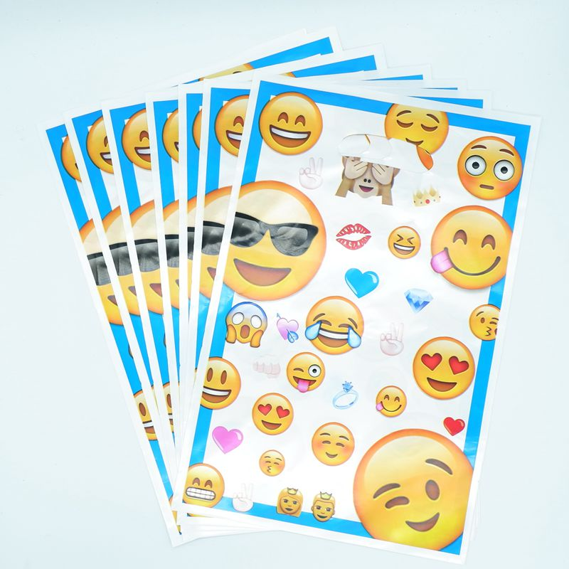 40pcs Handle Emoji Theme Plastic Gift Bags For Kids Birthday Party Supplies Portable Cake Cookie Loot Kid Favors