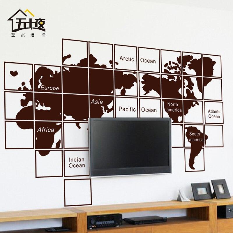 Carte du monde vinyle Sticker Mural mosaïque carte du monde canapé fond Art Mural Sticker Mural bureau salon chambre décoration