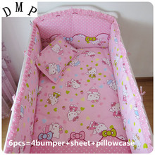 Promotion! 6pcs Cartoon Baby Cot Set 100% Cotton Crib Set For Kids,Baby Bedding Set  ,include (bumpers+sheet+pillow cover)