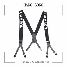 Width English Alphabet Suspenders Elasticity Leather Stitching 6 Clip For Women Men Fashion Brace Clothing Accessories