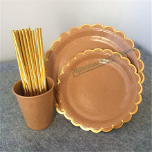 24 sets Kraft Paper Tableware Foil Gold Scallop Plate Dishes Cups Rustic Wedding Party Supplies